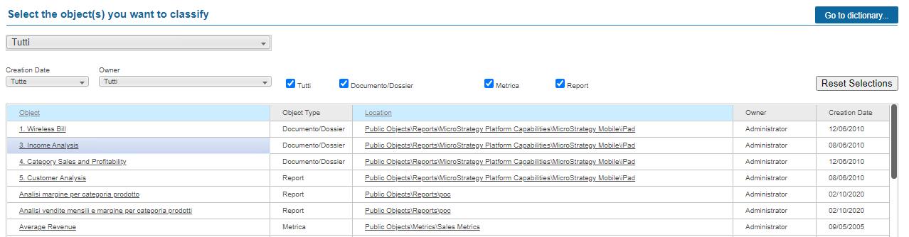 Pannello Microstrategy Category Manager per la visualizzazione oggetti