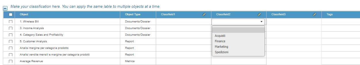 Pannello Microstrategy Category Manager per la classificazione oggetti