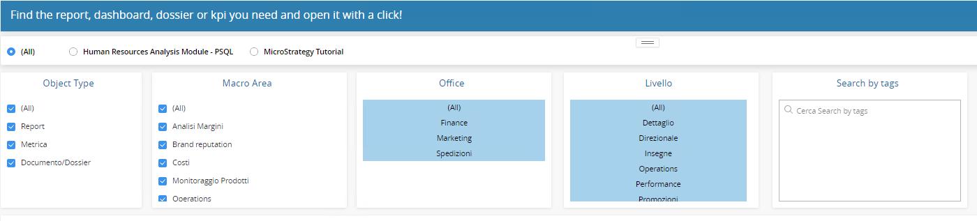 Interfaccia Microstrategy Category Manager per la ricerca degli oggetti